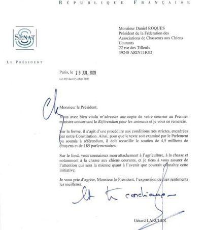 Lettre Gérard Larcher chasseurs RIP